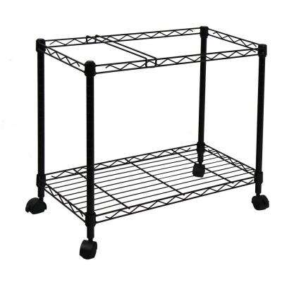 Portable 1-Tier Metal Rolling File Cart in Black