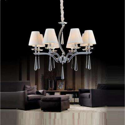 Alice 8-Light Chrome Chandelier with White Shade
