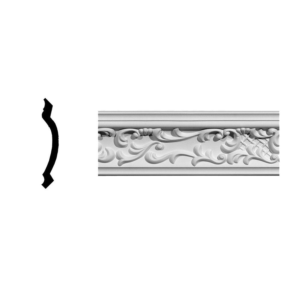 Ekena Millwork 3-5/8 in. x 3-5/8 in. x 94-5/8 in. Polyurethane Strasbourg Crown Moulding
