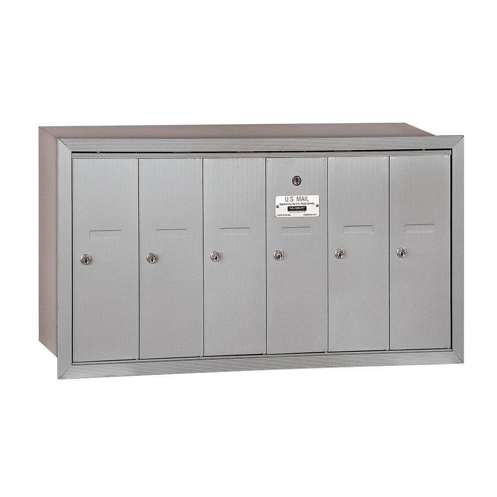 Salsbury Industries 3500 Series Aluminum Recessed-Mounted Private Vertical Mailbox with 6 Doors