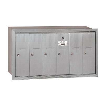 3500 Series Aluminum Recessed-Mounted Private Vertical Mailbox with 6 Doors