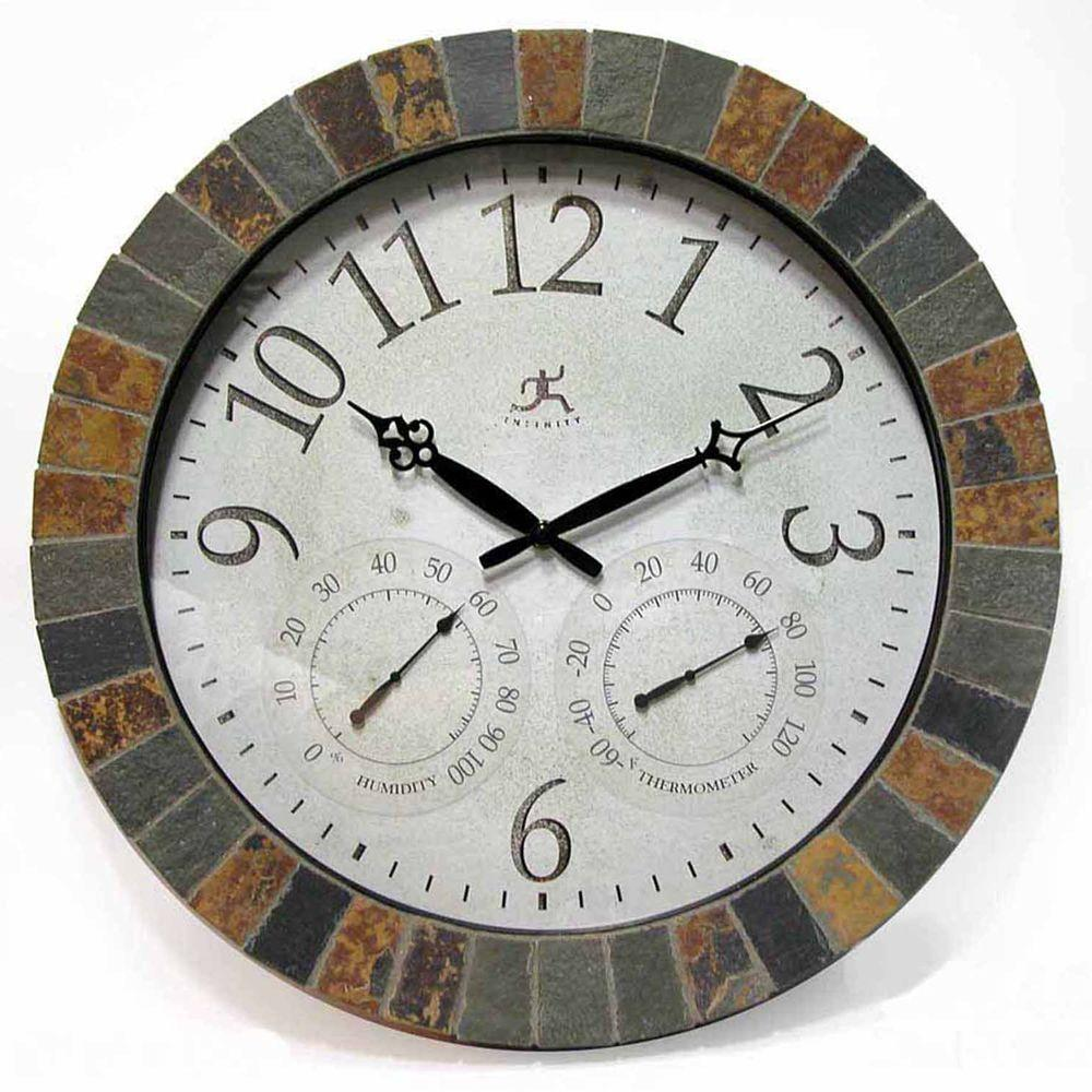 Infinity Instruments 18 in. Inca Round Wall Clock with Hygrometer and Thermometer
