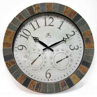 18 in. Inca Round Wall Clock with Hygrometer and Thermometer