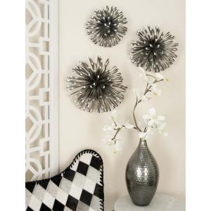 Modern Iron Round Loop Bands Wall Decor in Silver (Set of 3) by