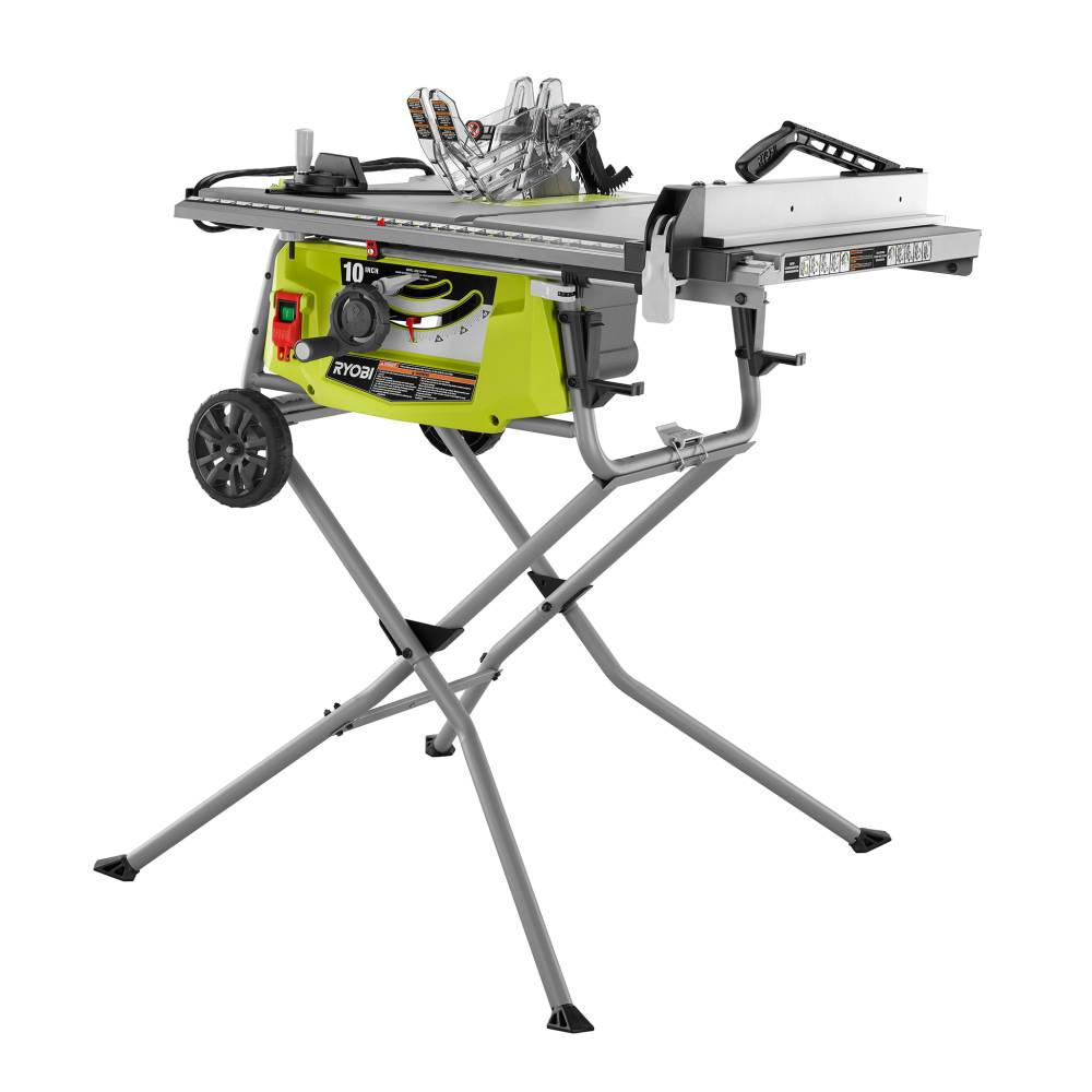 Ryobi 15 Amp 10 In Expanded Capacity Table Saw With Rolling Stand