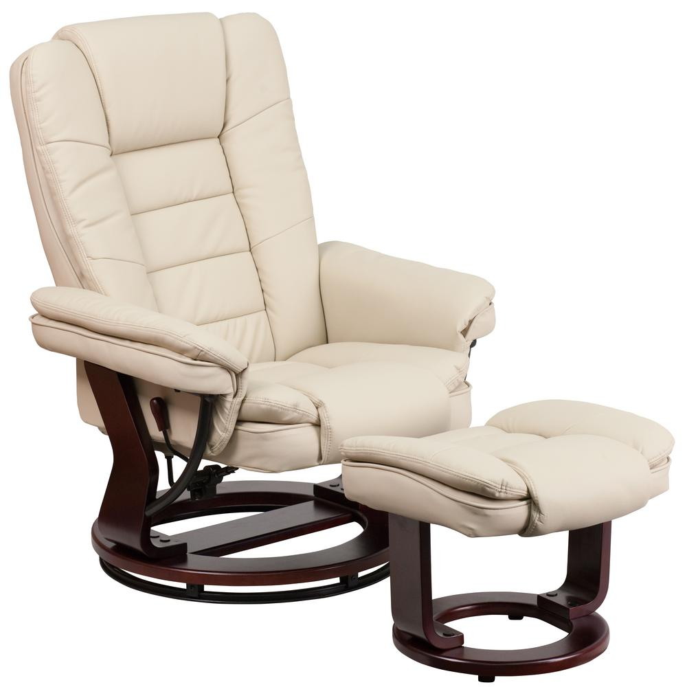 contemporary leather stressless recliner ottoman integrated headrest softness ebay. Black Bedroom Furniture Sets. Home Design Ideas