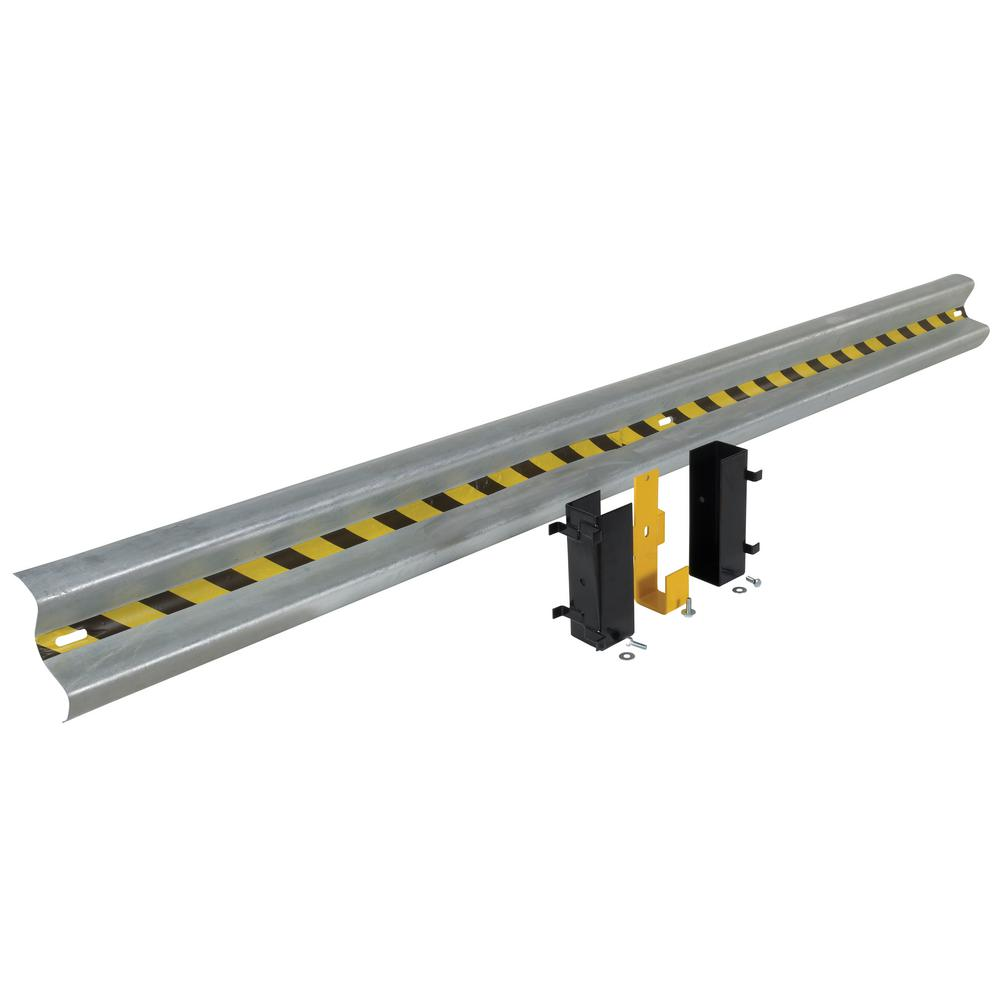 147 in. Galvanized Steel Guard Rail with 2-Drop-in Style Brackets and