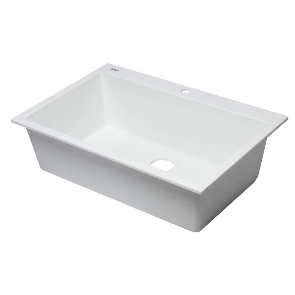 ALFI brand Drop-In Granite Composite 33 in. 1-Hole Single Bowl ...