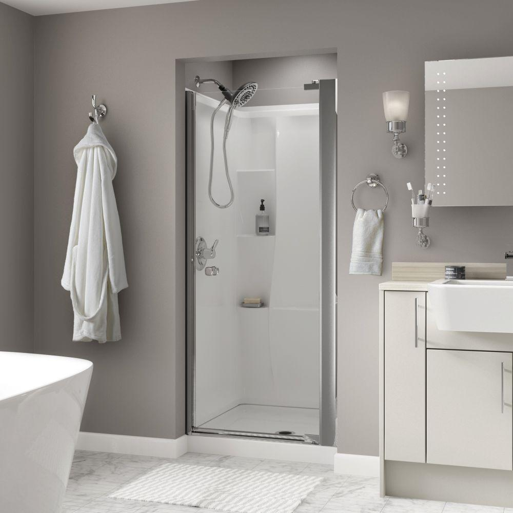 Delta mandara 36 in x 64 34 in semi frameless contemporary pivot delta mandara 36 in x 64 34 in semi frameless contemporary pivot shower door in nickel with clear glass 2406375 the home depot planetlyrics Gallery