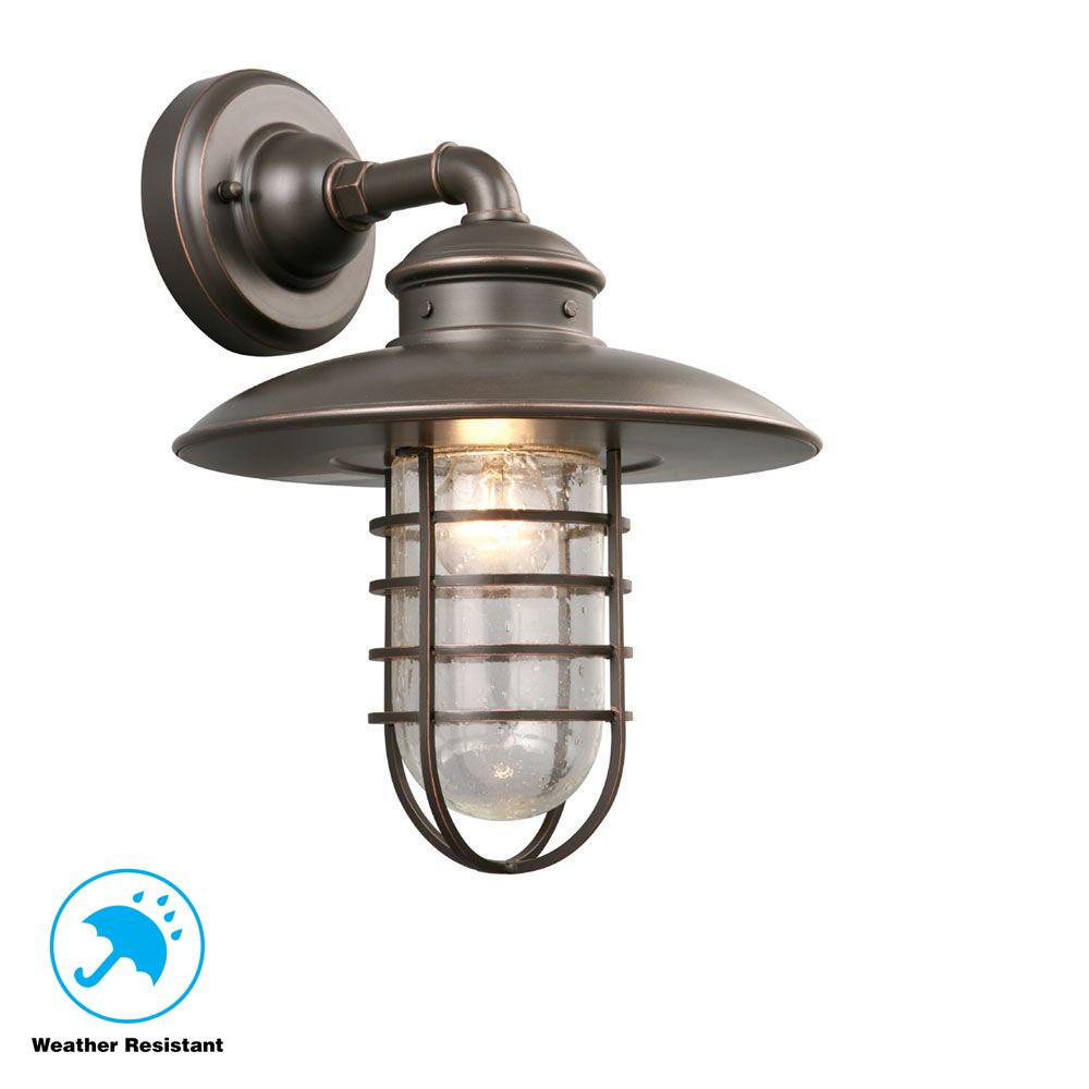 1-Light Oil-Rubbed Bronze Outdoor Wall Lantern