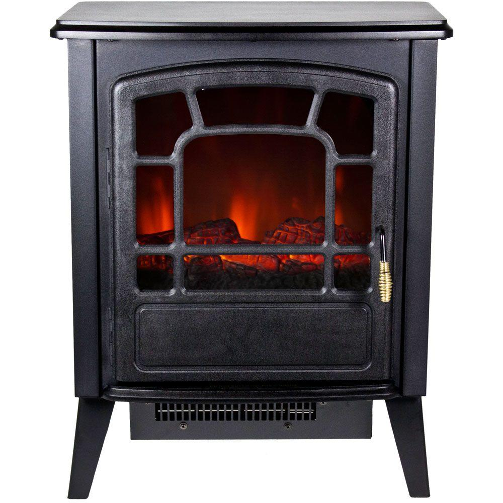 Electric Wood Burner Part - 38: Retro-Style Electric Stove With Logwood Flame