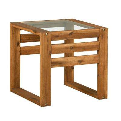 Square Wood and Glass Outdoor Open Side End Table - Brown
