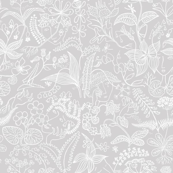 Grey Floral Silhouette Wallpaper