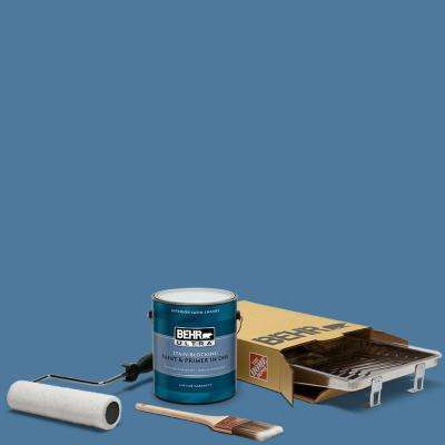 1 gal. #PPU14-02 Glass Sapphire Ultra Satin Enamel Interior Paint and 5-Piece Wooster Set All-in-One Project Kit
