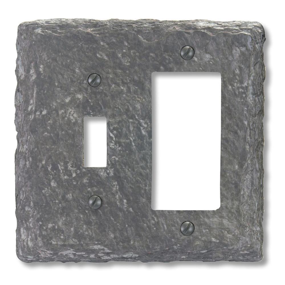 Faux Slate 1 Toggle 1 Decora Wall Plate - Grey