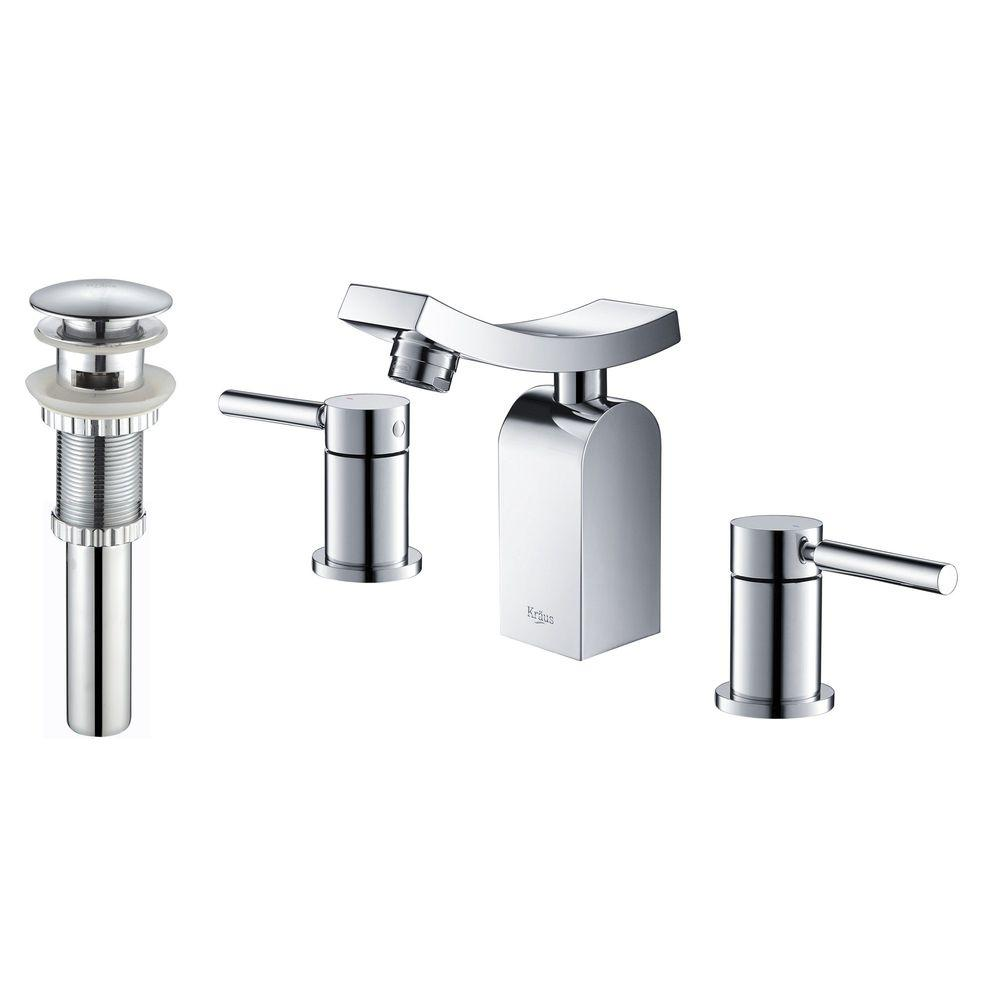KRAUS Unicus 8 in. Widespread 2-Handle Low Arc Faucet in Chrome with Pop Up Drain and Overflow