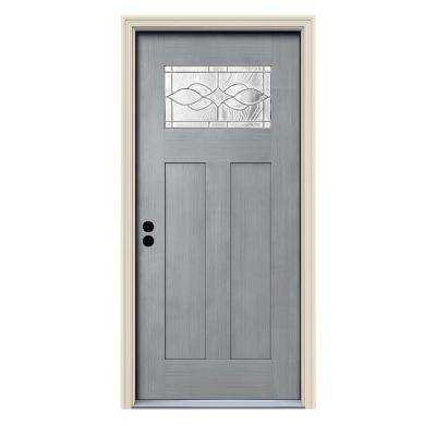 36 in. x 80 in. Stone Right-Hand 1-Lite Craftsman Carillon Stained Fiberglass Prehung Front Door with Brickmould