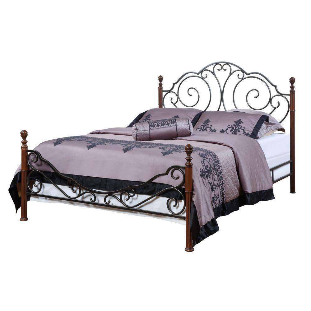 Homesullivan Valencia Bronzed Black And Cherry King Poster Bed