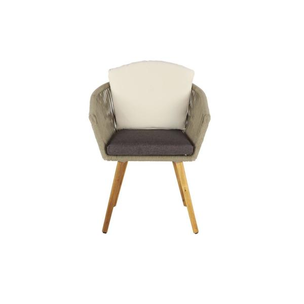 Gray Metal and Wood Rope-Wrapped Cushioned Dining Chair