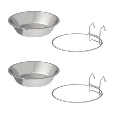 48 oz. Stainless Steel Hanging Pet Bowls (Set of 2)