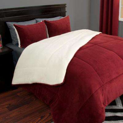 3-Piece Burgundy Sherpa-Fleece King Comforter Set