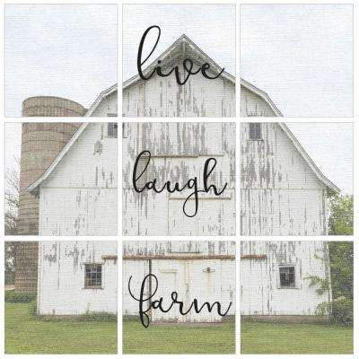 """12 in. x 12 in. """"Live Laugh Farm Vintage Photography"""" by In House Art Printed Canvas Wall Art 9-Piece"""