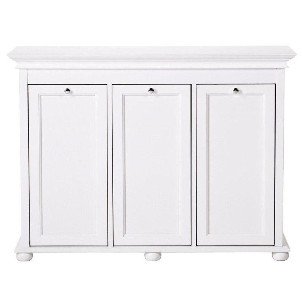 Home Decorators Collection Hampton Harbor 37 in. Triple Tilt-Out Hamper in White
