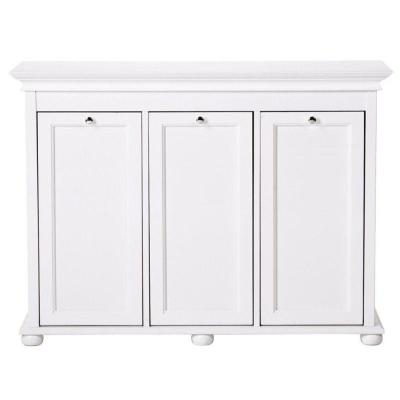 Hampton Harbor 37 in. Triple Tilt-Out Hamper in White