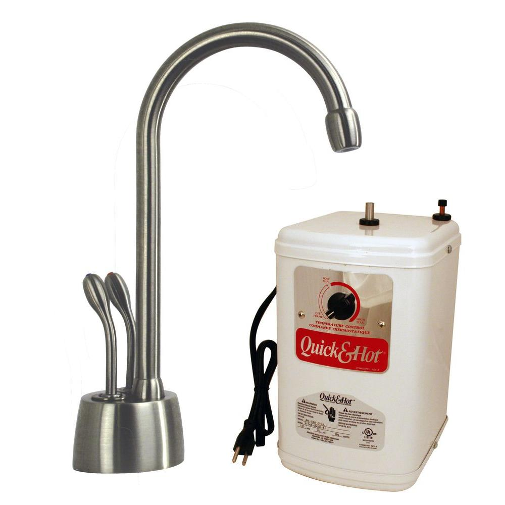 Westbrass Develosah 2-Handle Instant Hot/Cold Water Dispenser Faucet in Stainless Steel (Silver) with Hot Water Tank