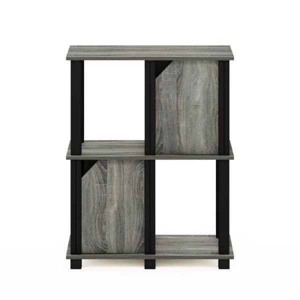 Brahms 29.85 in.French Oak Grey 3 Shelf Etagere Bookcase with 2 Doors