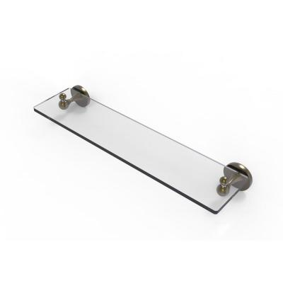 Sag Harbor Collection 22 in. Glass Vanity Shelf with Beveled Edges in Antique Brass