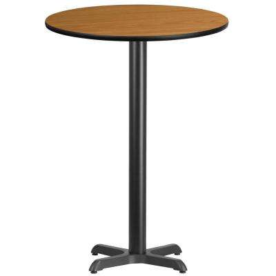 30 in. Round Black and Natural Laminate Table Top with 22 in. x 22 in. Bar Height Table Base