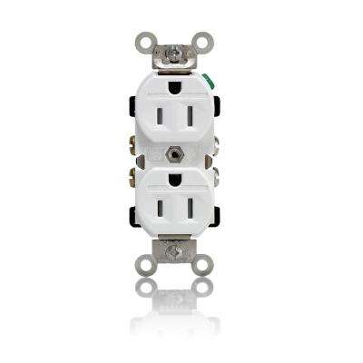 15 Amp Industrial Grade Weather/Tamper Resistant Self Grounding Duplex Outlet, White