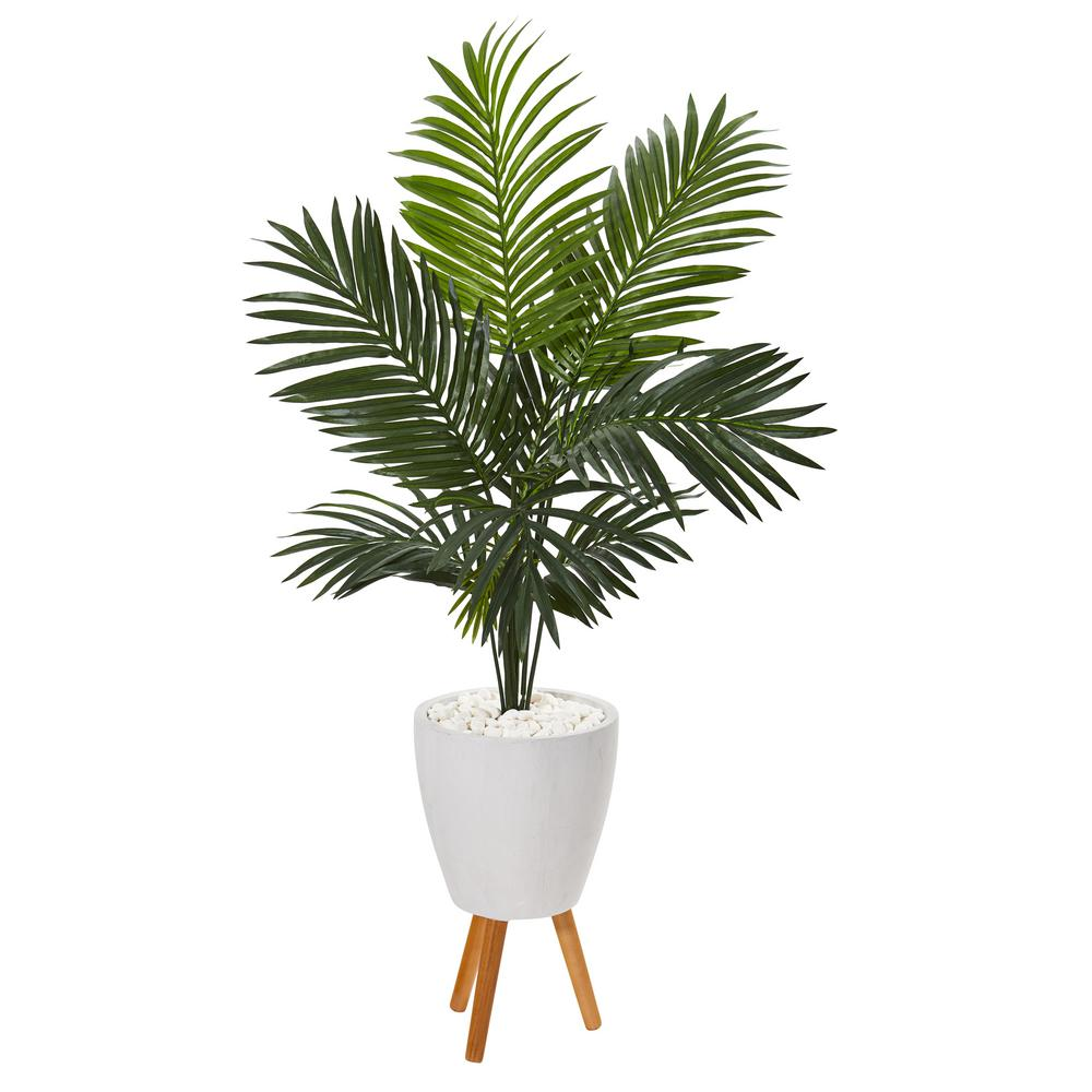 Nearly Natural 61 In Paradise Palm Artificial Tree In White Planter With Stand 9844 The Home Depot
