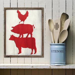 Stratton Home Decor 20 inch x 16 inch Stratton Home Decor Cow Pig and Rooster Wall Art by Stratton Home Decor