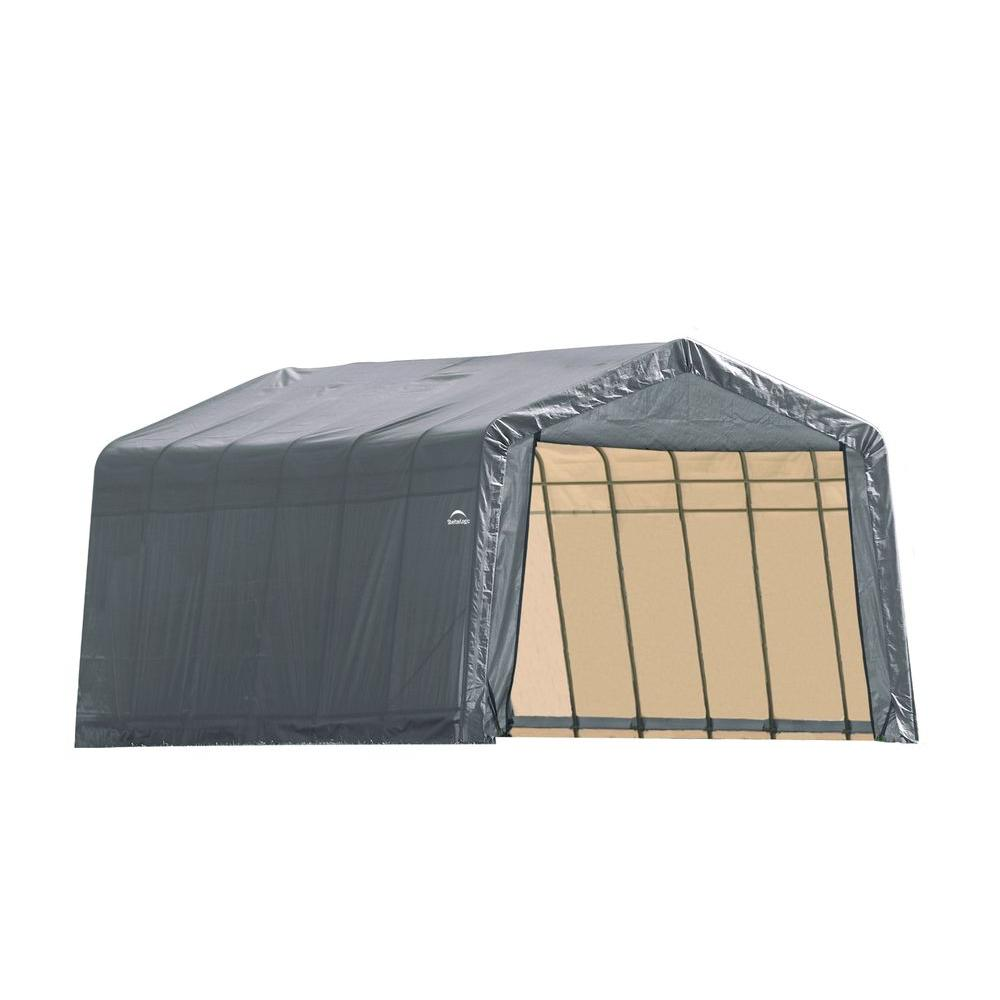 ShelterLogic 12 ft. x 28 ft. x 8 ft. Grey Steel and Polyethylene Garage without Floor