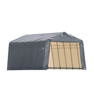 12 ft. x 28 ft. x 8 ft. Grey Steel and Polyethylene Garage without Floor