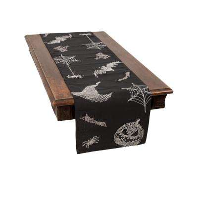 0.1 in. H x 15 in. W x 70 in. D Happy Halloween Double Layer Table Runner in Black