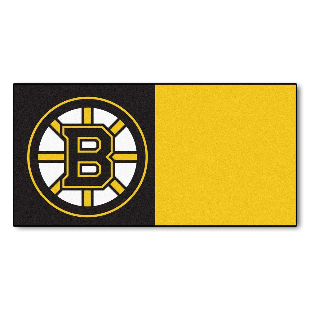 FANMATS NHL - Boston Bruins Black and Yellow Pattern 18 in. x 18 in. Carpet Tile (20 Tiles/Case)