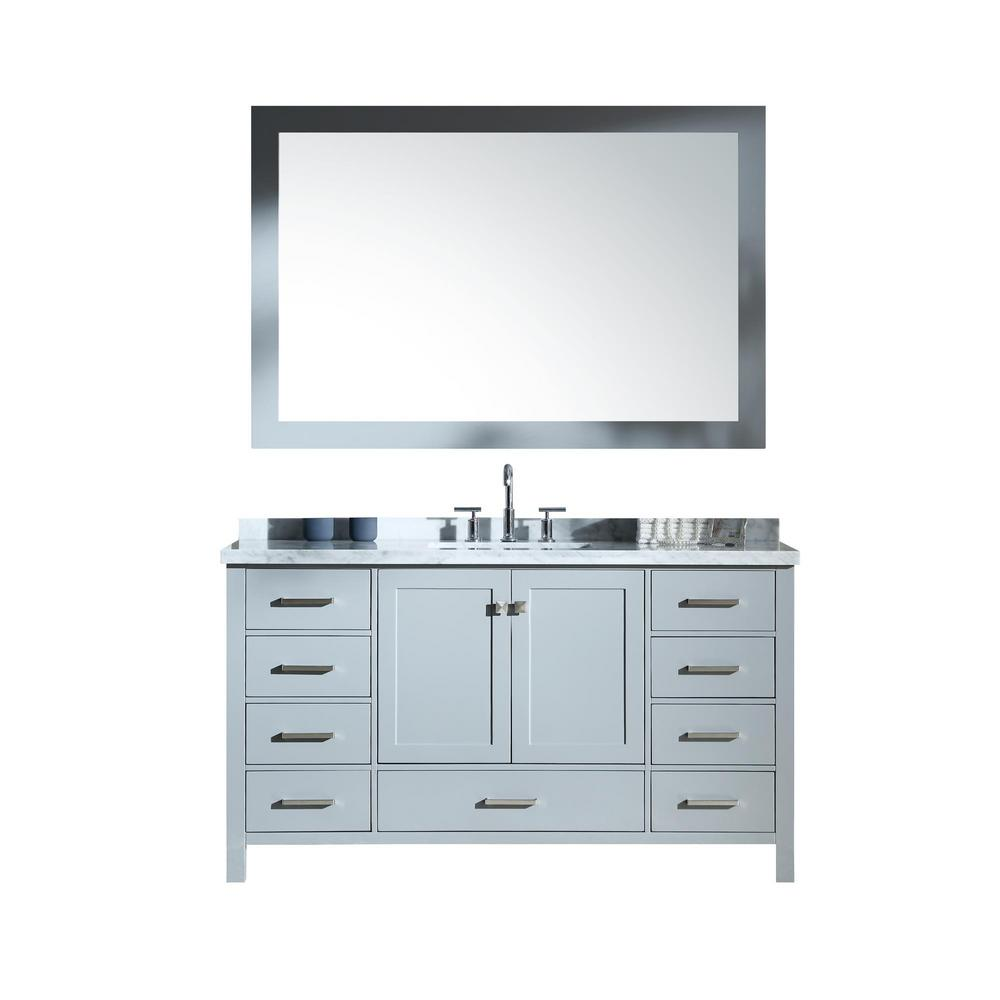 Ariel Cambridge 61 in. Bath Vanity in Grey with Marble Vanity Top in Carrara White with White Basins and Mirror