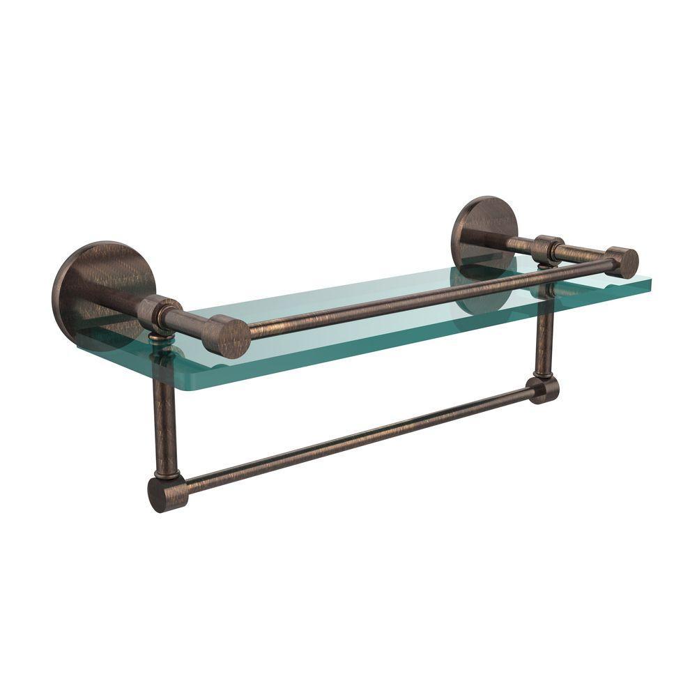 16 in. L  x 5 in. H  x 5 in. W Clear Glass Bathroom Shelf with Towel Bar in Venetian Bronze