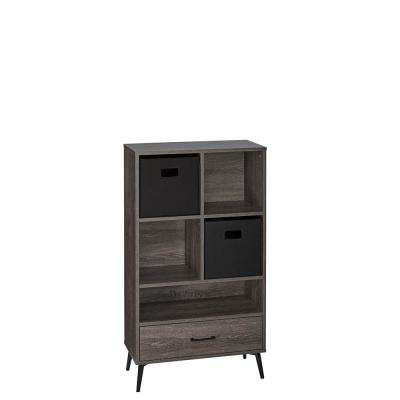 Woodbury Weathered Wood Storage Cabinet with Cubbies, Drawer and 2-Piece Black Bins