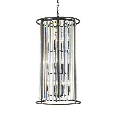 Mersesse 12-Light Bronze Chandelier with Clear Crystal Shade
