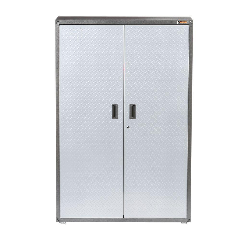 Ready-to-Assemble 72 in. H x 48 in. W x 18 in. D Steel Freestanding Garage Cabinet in Silver Tread