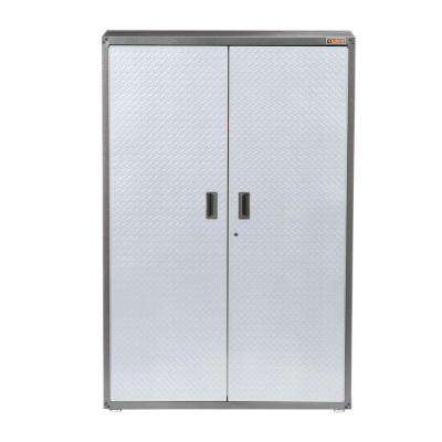 Ready-to-Assemble 72 in. H x 48 in. W x 18 in. D Steel Freestanding Garage Cabinet in Silver Tread