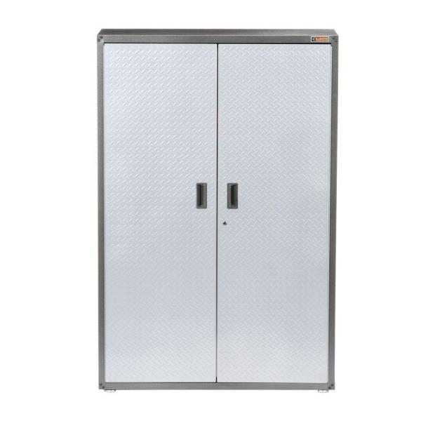 Gladiator Ready-to-Assemble 72 in. H x 48 in. W x 18 in. D Steel Freestanding Garage Cabinet in Silver Tread