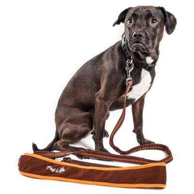 Free-Fetcher Large Hands Free Over-The-Shoulder Shock Absorbent Dog Leash in Brown