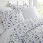 Blossoms Patterned Performance Light Blue King 3-Piece Duvet Cover Set