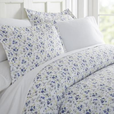 Blossoms Patterned Performance Light Blue Queen 3-Piece Duvet Cover Set