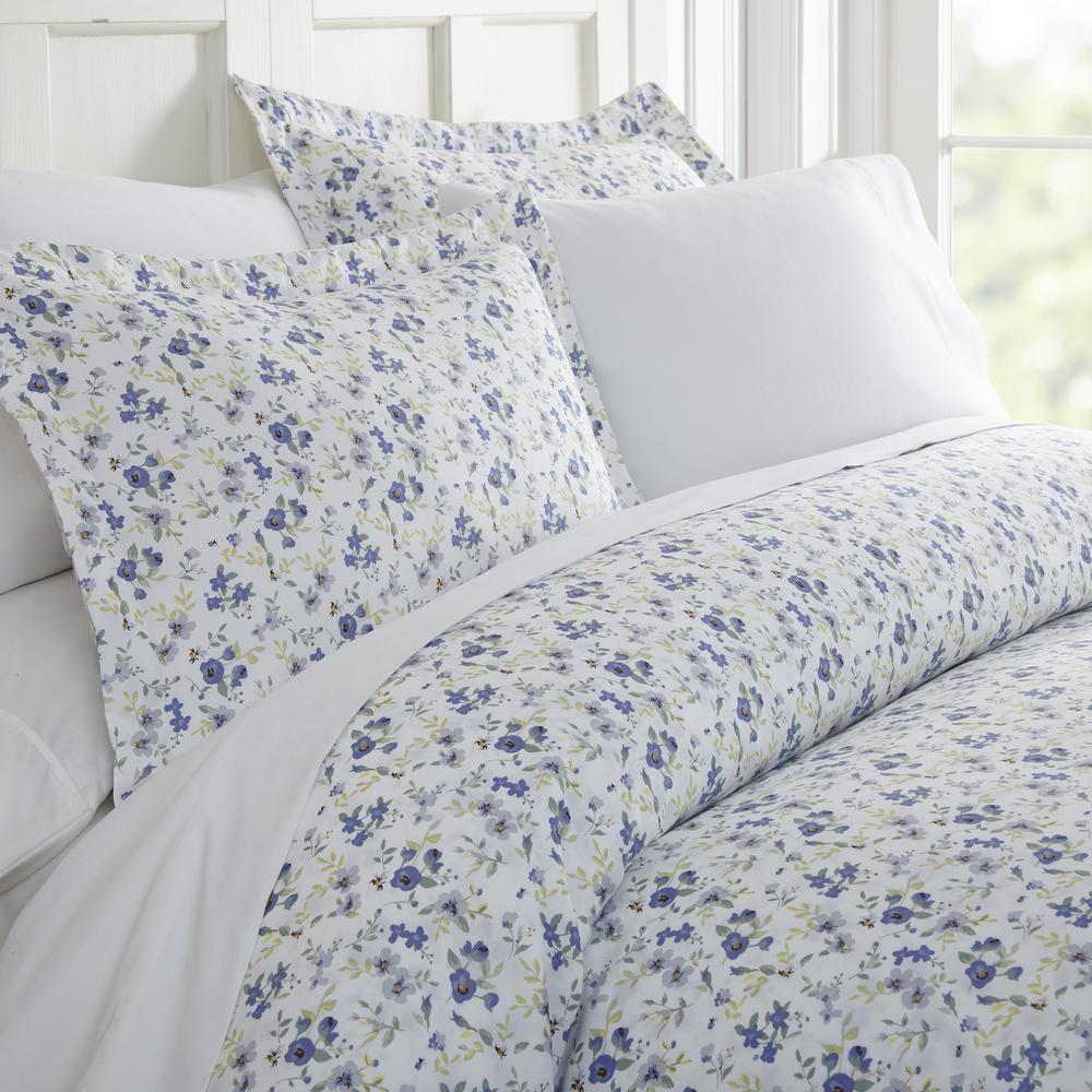 Blossoms Patterned Performance Light Blue Twin 3-Piece Duvet Cover Set